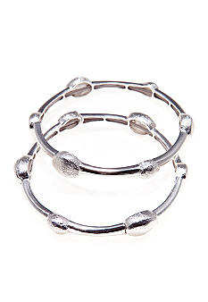 Via Neroli Set Of Two Textured Silver Stretch Bracelets