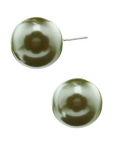 Kim Rogers Green Pearl Stud Earrings