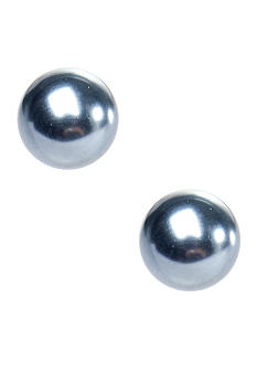 Kim Rogers Grey Pearl Ball Stud Earrings
