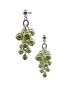 Kim Rogers Green Pearl Cluster Drop Earrings