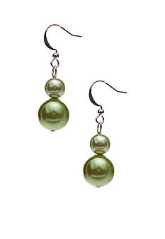 Kim Rogers Green Pearl Bobby Drop Earrings