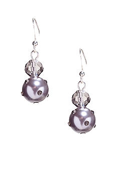 Kim Rogers® Gray Faceted Bead/Pearl French Wire Earrings