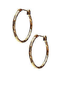 Kim Rogers Gold Texture 14Kt Gold Filled Post Oval Hoop