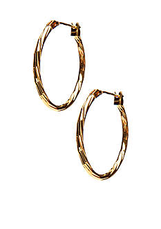 Kim Rogers Gold Texture 14Kt Gold Filled Post Oval Hoop Earrings