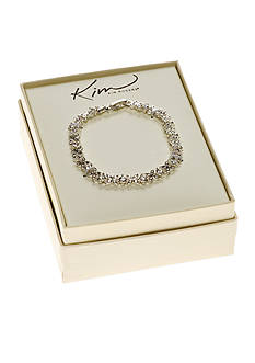 Kim Rogers Clear Stone Flower Tennis Boxed Bracelet