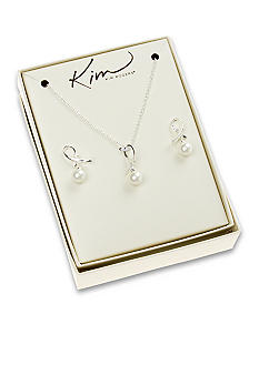 Kim Rogers Pearl Ribbon Loop Necklace Earring Set