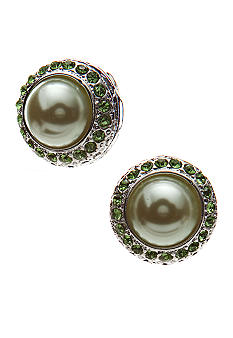 Kim Rogers Green Pearl Button Clip Earrings