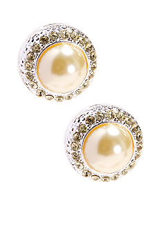 Yellow Pearl/Stone Round Button Clip Earrings