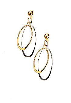 Kim Rogers Two Tone Double Oval 14Kt Gold Filled Post Drop Earring