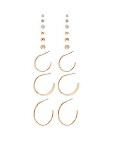 Kim Rogers Gold-Tone 9 Pair Stud and Hoop Earrings Set