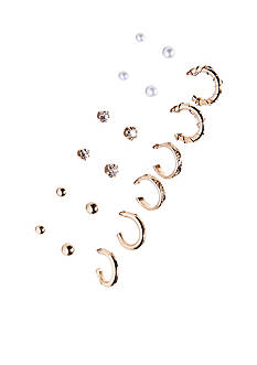Kim Rogers 9 Pair Stud and Hoop Earrings Set
