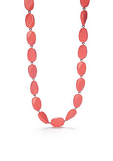 Kim Rogers Silver-Tone Coral Lucite Flat Oval Collar Necklace