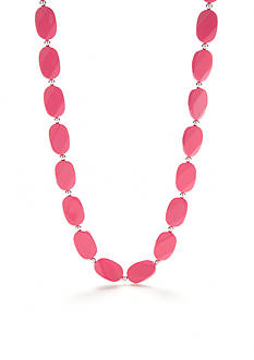 Kim Rogers Pink Lucite Flat Bead Collar Necklace