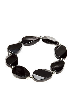Kim Rogers Silver Bead and Black Oval Wafer Stretch Bracelet