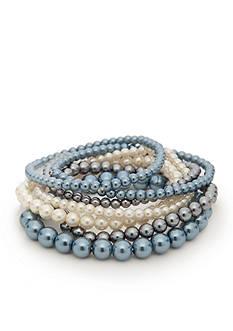 Kim Rogers Blue Glass Pearl 7-Piece Stretch Bracelet Set