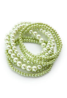 Kim Rogers Green Pearl 7 Row Stretch Bracelet