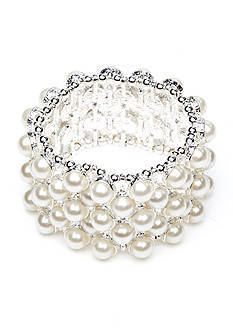 Kim Rogers White Pearl Wide Stretch Bracelet
