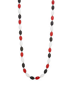 Kim Rogers Silver-Tone Red, White and Blue Beaded Strand Necklace