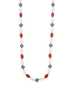 Kim Rogers Silver-Tone Red, White and Navy Stripe Long Strand Necklace