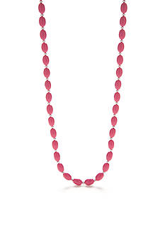 Kim Rogers Silver-Tone Pink Lucite Bead Strand Necklace