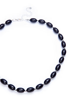 Kim Rogers Black Oval Bead with Silver Spacers Necklace