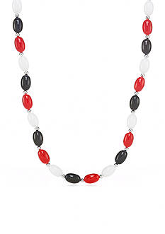 Kim Rogers Silver-Tone Red, White and Blue Oval Lucite Bead Necklace