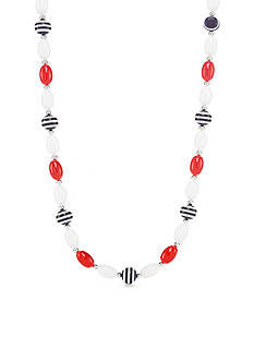 Kim Rogers Silver-Tone Red, White and Navy Stripe Collar Necklace