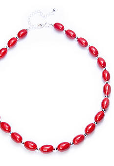 Kim Rogers Red Oval Bead Necklace