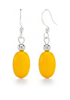 Kim Rogers Gold Lucite Oval Drop Earrings