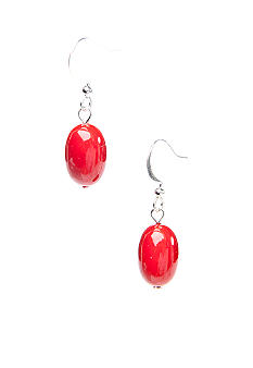 Kim Rogers Red Oval Bead French Wire Earring