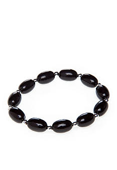 Kim Rogers® Black Oval Bead with Silver Stretch Bracelet