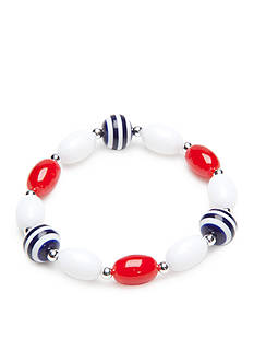 Kim Rogers Silver-Tone Red, White, Blue Lucite Stretch Bracelet