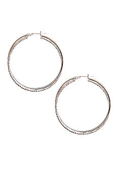 Kim Rogers® Silver Plated 14Kt Gold Filled Post Large Silver Hoop Earrings