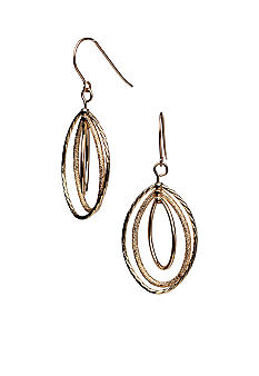 Kim Rogers 14K Gold Filled Post Gold Oval Rings Drop Earrings