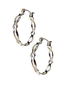 Kim Rogers Silver Lattice Pattern 14Kt Gold Filled Post Hoop