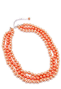 Kim Rogers 16-in. Coral Pearl 3 Row Necklace