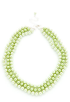 Kim Rogers Green Pearl 3 Row Necklace
