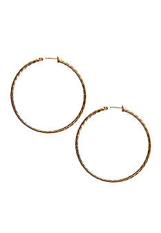 Kim Rogers 14Kt Gold Filled Post Gold Diamond Cut Hoop Earring