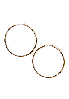 Kim Rogers 14Kt Gold Filled Post Gold Diamond Cut Hoop Earrings