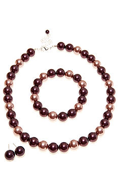 Kim Rogers® Dusty Rose Tonal Pearl Necklace/Earring/Bracelet Set