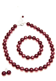 Kim Rogers® Raspberry Tonal Pearl Necklace/Earring/Bracelet Set