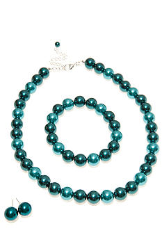 Kim Rogers® Teal Tonal Pearl Necklace/Earring/Bracelet Set