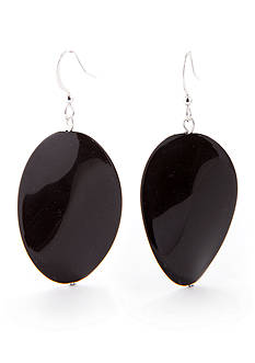 Kim Rogers Black Wavy Oval French Wire Earrings