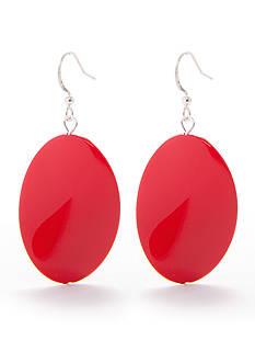Kim Rogers Red Thin Wavy Oval French Wire Earring