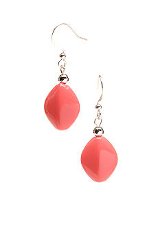 Kim Rogers Coral Flat Oval Bead French Wire Earrings