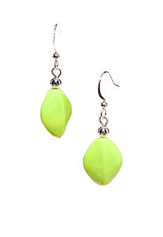 Kim Rogers Lime Green Flat Oval French Wire Earrings