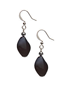Kim Rogers Navy Flat Oval French Wire Earrings