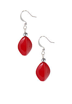 Kim Rogers dRed Oval Drop French Wire Earrings