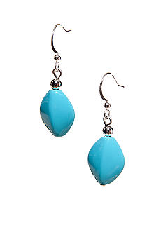 Kim Rogers Turquoise Flat Oval Bead French Wire Earrings