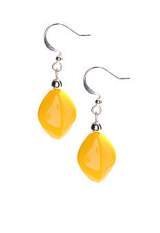 Kim Rogers Yellow Flat Oval Bead French Wire Earrings